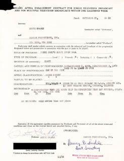 BETTY GRABLE - CONTRACT SIGNED 09/27/1960