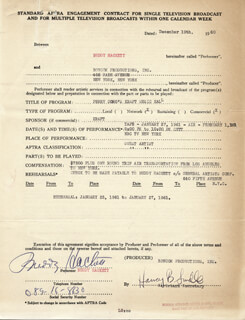 BUDDY HACKETT - ANNOTATED CONTRACT MULTI-SIGNED 12/19/1960
