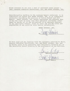 JEFF HARRIS - DOCUMENT DOUBLE SIGNED CIRCA 1967 CO-SIGNED BY: BERNIE KUKOFF