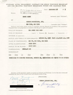 MORTY GUNTY - CONTRACT SIGNED 09/28/1955