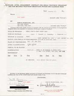 MILT KAMEN - CONTRACT DOUBLE SIGNED 01/17/1961