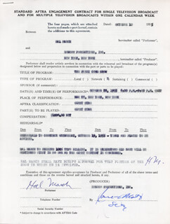 HAL MARCH - CONTRACT DOUBLE SIGNED 10/10/1955