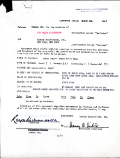 SIR RALPH RICHARDSON - DOCUMENT SIGNED 03/04/1960