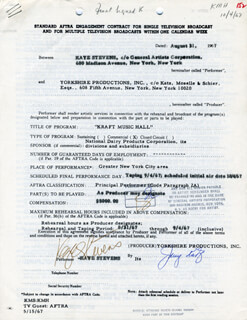 KAYE STEVENS - CONTRACT MULTI-SIGNED 08/31/1967