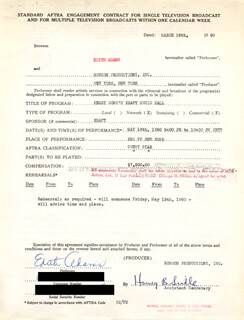Autographs: EDIE ADAMS - DOCUMENT SIGNED 03/16/1960
