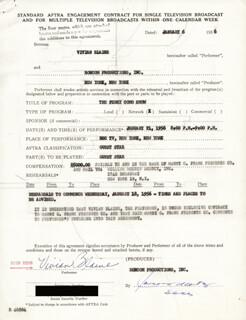 VIVIAN BLAINE - CONTRACT SIGNED 01/06/1956