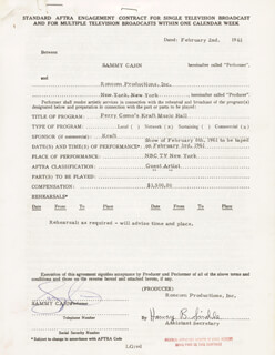 SAMMY CAHN - CONTRACT DOUBLE SIGNED 02/02/1961