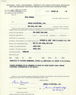 PAUL DOUGLAS - CONTRACT SIGNED 08/31/1956