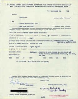 HUGH DOWNS - CONTRACT SIGNED 09/28/1960