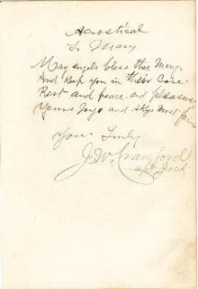 Autographs: CAPTAIN JACK THE POET SCOUT CRAWFORD - INSCRIBED AUTOGRAPH POEM SIGNED