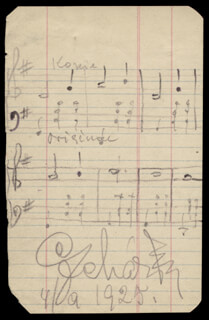 FRANZ LEHAR - AUTOGRAPH MUSICAL QUOTATION SIGNED 04/09/1925