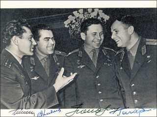 Autographs: COLONEL YURI GAGARIN - PHOTOGRAPH SIGNED CO-SIGNED BY: MAJOR GENERAL PAVEL POPOVICH, MAJOR GENERAL ANDRIAN NIKOLAYEV, GENERAL GHERMAN TITOV