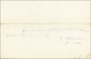 BRIGADIER GENERAL JOHN H. WINDER - AUTOGRAPH ENDORSEMENT SIGNED CIRCA 1862 CO-SIGNED BY: WILLIAM N. McKENNEY