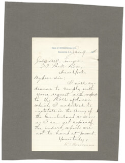 MAJOR GENERAL WILLIAM S. OLD ROSY ROSECRANS - MANUSCRIPT LETTER SIGNED 01/09/1884