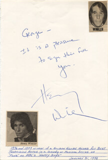 HENRY THE FONZ WINKLER - AUTOGRAPH NOTE SIGNED CIRCA 1978