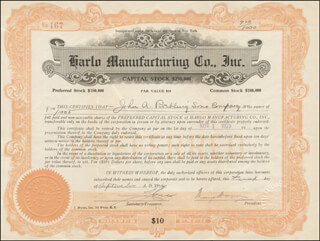 Autographs: WASHINGTON A. ROEBLING - STOCK CERTIFICATE SIGNED 09/01/1922
