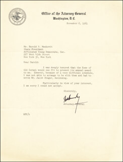ROBERT F. KENNEDY - TYPED LETTER SIGNED 11/06/1961