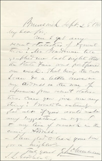 Autographs: MAJOR GENERAL JOSHUA LAWRENCE CHAMBERLAIN - AUTOGRAPH LETTER SIGNED 09/26/1868
