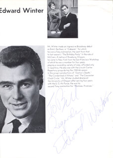 EDWARD WINTER - INSCRIBED PROGRAM PAGE SIGNED CO-SIGNED BY: JILL O'HARA