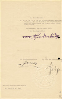 Autographs: FIELD MARSHAL PAUL VON HINDENBURG - DOCUMENT SIGNED 08/21/1928 CO-SIGNED BY: WILHELM GROENER
