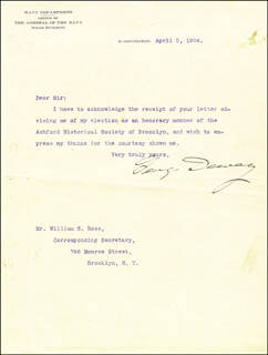ADMIRAL GEORGE DEWEY - TYPED LETTER SIGNED 04/05/1904