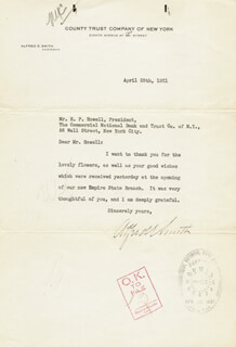 ALFRED E. SMITH - TYPED LETTER SIGNED 04/28/1931