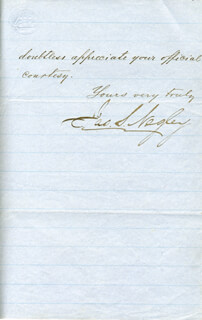 MAJOR GENERAL JAMES SCOTT NEGLEY - MANUSCRIPT LETTER SIGNED 06/03/1872