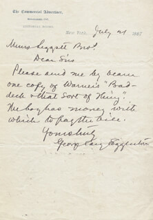 Autographs: GEORGE CARY EGGLESTON - AUTOGRAPH LETTER SIGNED 07/21/1887