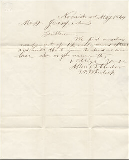 THOMAS P. WHEELOCK - AUTOGRAPH LETTER SIGNED 05/10/1844