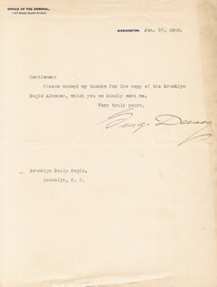 ADMIRAL GEORGE DEWEY - TYPED LETTER SIGNED 01/27/1900
