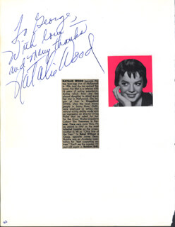 NATALIE WOOD - AUTOGRAPH NOTE SIGNED CO-SIGNED BY: A. C. LYLES