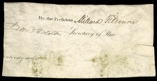 Autographs: PRESIDENT MILLARD FILLMORE - SIGNATURE(S) CO-SIGNED BY: DANIEL WEBSTER