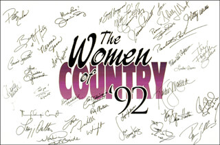 Autographs: PATTY LOVELESS - POSTER SIGNED CO-SIGNED BY: SKEETER DAVIS, CONNIE SMITH, PAM TILLIS, THE JUDDS (WYNONNA JUDD), KATHY MATTEA, LYNN ANDERSON, KITTY WELLS, JEANNIE C. RILEY, DONNA DOUGLAS, TAMMY WYNETTE, GAIL DAVIES, BECKY HOBBS, TRISHA YEARWOOD, SHELLY WEST, JEANNE PRUETT, SUZY BOGGUSS, MARTINA McBRIDE, MARY CHAPIN CARPENTER, NORMA JEAN BEASLER