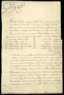 KING GEORGE III (GREAT BRITAIN) - MANUSCRIPT DOCUMENT SIGNED 08/01/1792 CO-SIGNED BY: PRIME MINISTER WILLIAM THE YOUNGER PITT (GREAT BRITAIN), RICHARD RIGBY