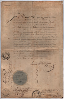 Autographs: KING LOUIS PHILIPPE (FRANCE) - DIPLOMATIC APPOINTMENT SIGNED 10/22/1833
