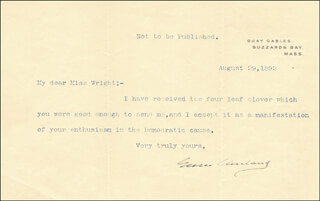 Autographs: PRESIDENT GROVER CLEVELAND - TYPED LETTER SIGNED 08/29/1892