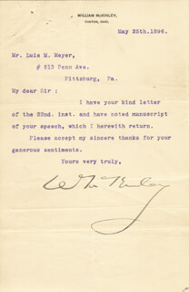 PRESIDENT WILLIAM McKINLEY - TYPED LETTER SIGNED 05/25/1896