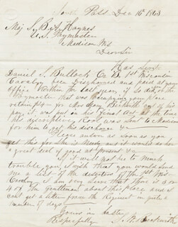 S. W. BECKWITH - AUTOGRAPH LETTER SIGNED 12/16/1863 CO-SIGNED BY: CIVIL WAR - UNION