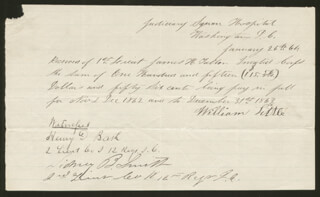CIVIL WAR - UNION - RECEIPT SIGNED 01/26/1864