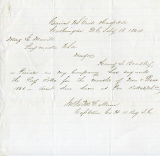 Autographs: CAPTAIN JOHN JAMES McCALLUM - AUTOGRAPH DOCUMENT SIGNED 02/18/1864 CO-SIGNED BY: CIVIL WAR - UNION