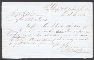 CIVIL WAR - UNION - AUTOGRAPH ENDORSEMENT SIGNED 10/11/1863 CO-SIGNED BY: CAPTAIN F. S. PALMER