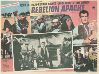 Autographs: APACHE UPRISING MOVIE CAST - LOBBY CARD UNSIGNED (MEX) 1965