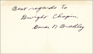 Autographs: GENERAL OMAR N. BRADLEY - AUTOGRAPH NOTE SIGNED