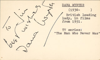 DANA WYNTER - AUTOGRAPH NOTE SIGNED CIRCA 1954