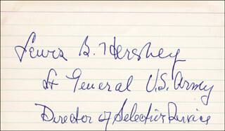 GENERAL LEWIS B. OLDEST SOLDIER HERSHEY - AUTOGRAPH