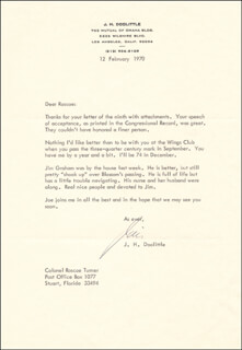 BRIGADIER GENERAL JAMES H. JIMMY DOOLITTLE - TYPED LETTER SIGNED 02/12/1970