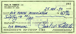 ENOLA GAY CREW (PAUL W. TIBBETS) - AUTOGRAPHED SIGNED CHECK 11/25/1993