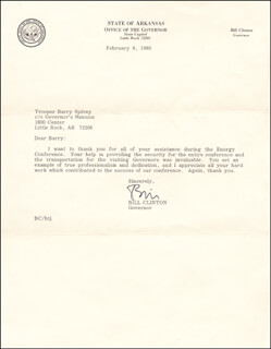 PRESIDENT WILLIAM J. BILL CLINTON - TYPED LETTER SIGNED 02/08/1980