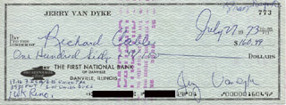 JERRY VAN DYKE - AUTOGRAPHED SIGNED CHECK 07/27/1973