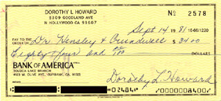 DOROTHY L. HOWARD - AUTOGRAPHED SIGNED CHECK 09/14/1981